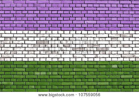 Genderqueer Pride Flag Painted On Brick Wall