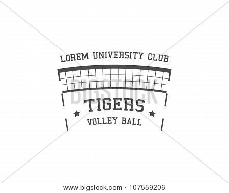 University Volleyball label, badge, logo and icon. Sports insignia. Best for volley club, league com