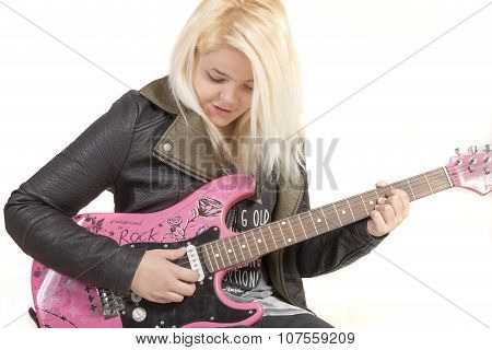 Teenage Girl Playing Electric Guitar