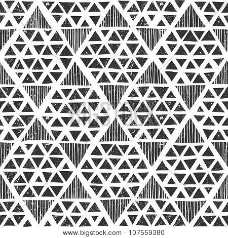 Hand drawn monochrome pattern. Primitive geometric background in grunge style.
