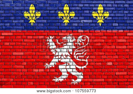Flag Of Lyon Painted On Brick Wall