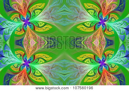 Multicolored Symmetrical Flower Pattern In Stained-glass Window Style