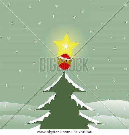 Bird On Top Of Christmas Tree