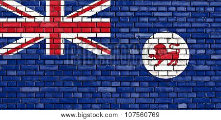 Flag Of Tasmania Painted On Brick Wall