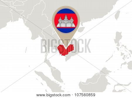 Cambodia On World Map