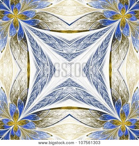 Symmetrical Flower Pattern In Stained-glass Window Style On Light. Beige And Blue Palette.