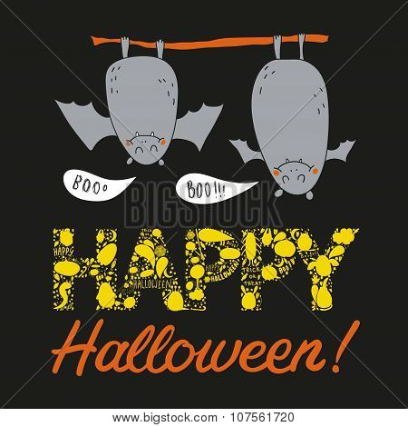 Vector Hand Drawn Halloween Postcard With Two Bats