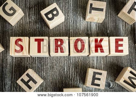Wooden Blocks with the text: Stroke