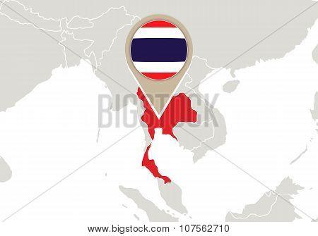 Thailand On World Map