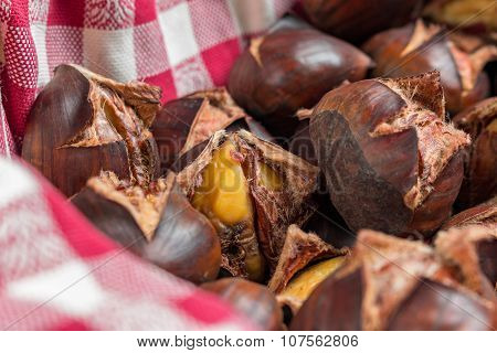 chestnuts on a red cloth