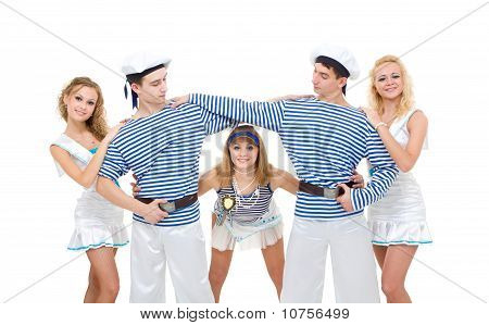Dance Team Wearing A Sailor Uniform Dancing