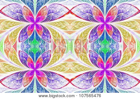 Multicolored Symmetrical Pattern In Stained-glass Window Style. On Light. Computer Generated Graphic
