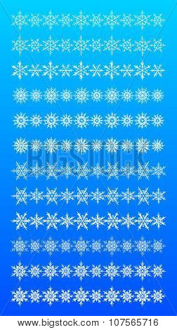 Set of scribble snowflakes vector borders