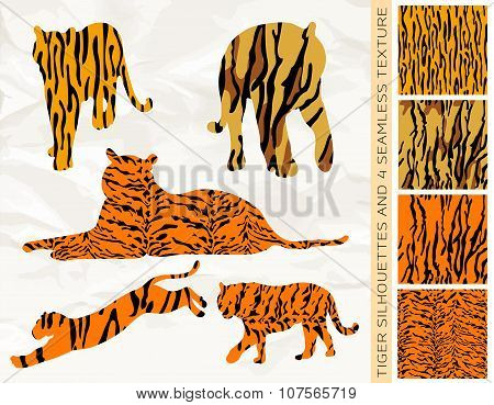 Set Of Five Tiger Silhouettes With Seamless Texture