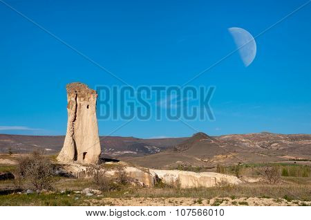 Lone rock  of a sail in the Valley, Cappadocia, Turkey