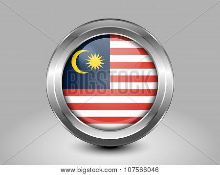 Flag Of Malaysia. Metal Round Icon