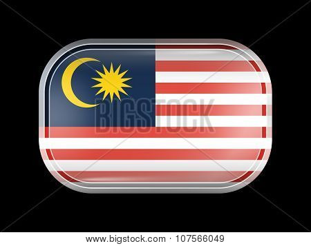 Flag Of Malaysia. Rectangular Shape With Rounded Corners