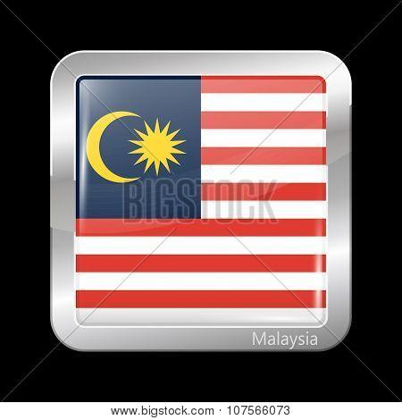 Flag Of Malaysia. Metallic Icon Square Shape