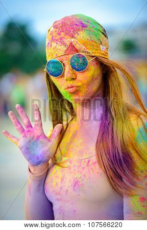 Holi painted girl