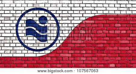 Flag Of Irving Painted On Brick Wall