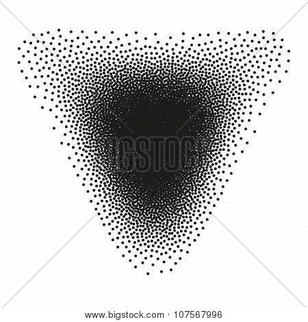 Abstract Halftone Background. Dotwork Triangle.
