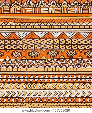 Hand Drawn Orange Abstract Aztec Maya Geometric Seamless Pattern