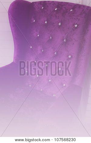 Purple Velvet Armchair Beside White Wall