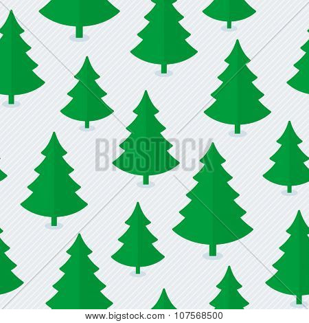 Christmas tree seamless pattern in flat style.