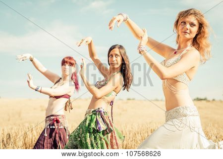 Belly Dancer Group In Action