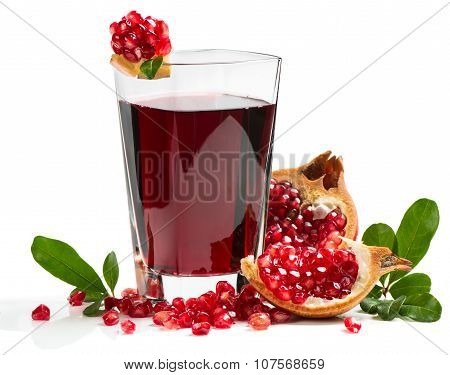 Glass Of Pomegranate Juice With Fruits
