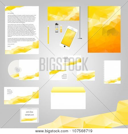 White classic corporate identity template design with yellow geometry triangle shapes. Business stat