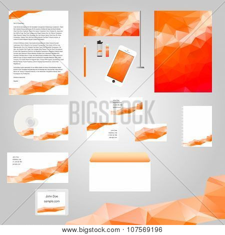 White classic corporate identity template design with red geometry triangle shapes. Business station