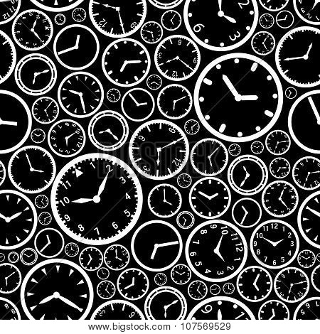 White Watch Dial And Black Background Seamless Pattern Eps10