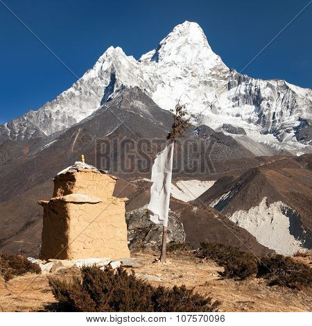 Mount Ama Dablam With Chorten And Prayer Flags