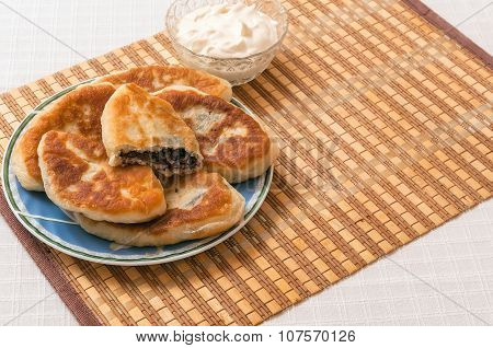 Ukrainian Homemade Meat Pies On A Plate