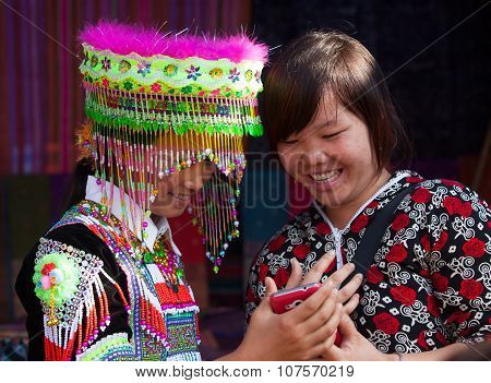Vietnamese Hmong minority girl wearing a colorful traditional hat