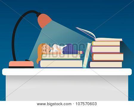 Girl sleeping on books.
