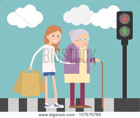 Girl helping old woman