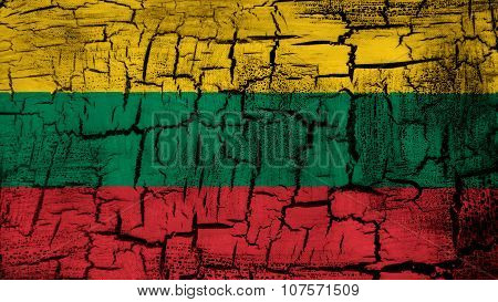 Flag of Lithuania, Lithuanian Flag painted on cracked ground