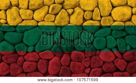 Flag of Lithuania, Lithuanian Flag painted on stone