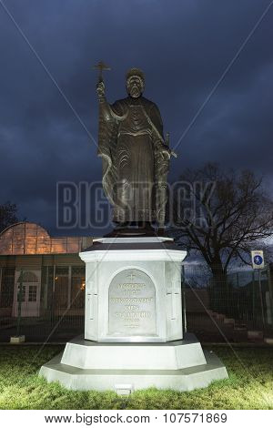 VLADIMIR, RUSSIA -05.11.2015. The monument Duke Vladimir, founder of the city. golden tourist ring