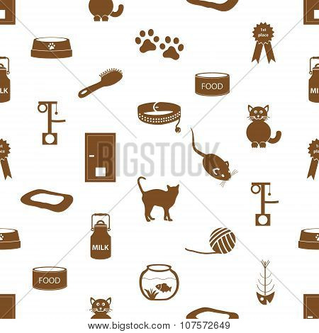 Cats Pets Items Simple Icons Seamless Pattern Eps10