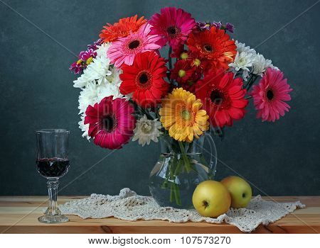 Still Life With Transvaal  Daisies, Apples And Red Wine.