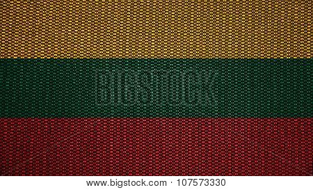 Flag of Lithuania, Lithuanian Flag painted on stitch texture
