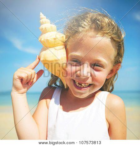 Girl Seashell Seashore Beach Summer Holiday Concept