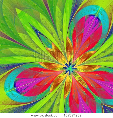 Multicolored Fractal Flower Or Butterfly In Stained-glass Window Style. Artwork For Creative Design,