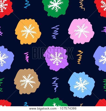 Seamless color snowflakes on the dark