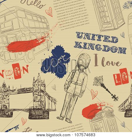 Seamless pattern with London landmark symbols. Vintage hand drawn vector illustration in sketch styl