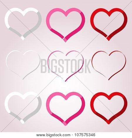 White Red And Pink Valentine Hearths Border Decoration Element Eps10