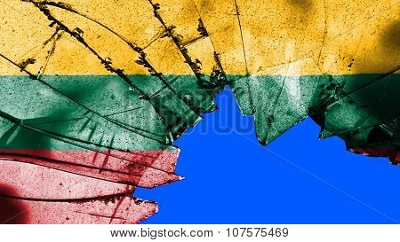 Flag of Lithuania, Lithuanian Flag painted on broken glass